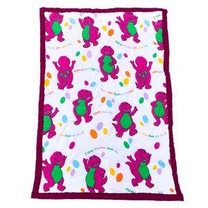 Vintage Barney the dinosaur baby blanket quilt